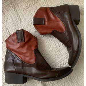 Ankle Cowboy Boots Mia Girl Two-Toned Brown 9.5